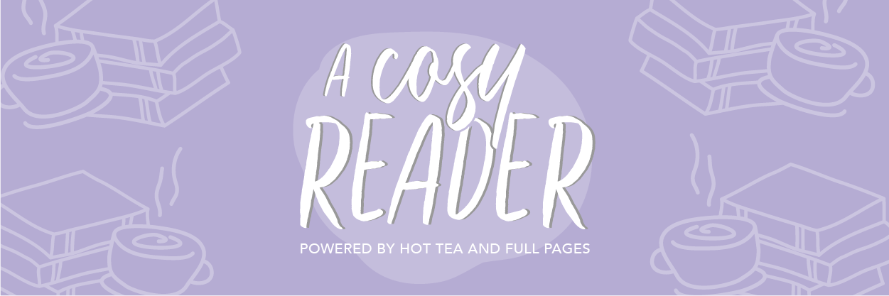 """A Cosy Reader - Powered by Hot Tea and Full Pages"" White writing on purple background with hand-drawn book stack and mug with steam"