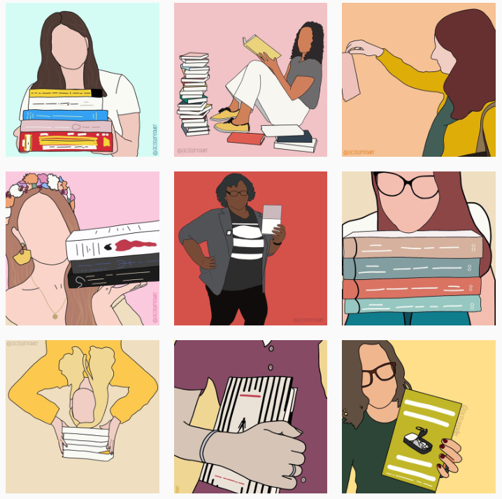 Digital illustrations of various bookstagrammers, in bright colours